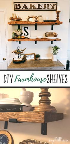 DIY Farmhouse Shelves - Make your own farmhouse inspired shelves for your kitchen Dekor diy DIY Farmhouse Shelves Ana White, Bungalow, Dining Room Shelves, Bathroom Shelves, Diy Kitchen Shelves, Dining Rooms, Shelves For Bedroom, Shiplap Bathroom, Washroom