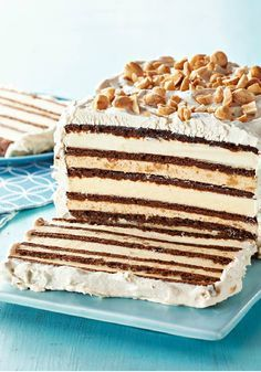 Chocolate-Peanut Butter Ice Cream Sandwich Cake – Packaged ice cream sandwiches make this no-bake frozen chocolate-peanut butter dessert recipe so easy, you may never have to buy ice cream cake from a store again!