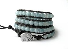 PALE TEAL - the lucky elephant leather wrap bracelet. Perfect for Spring - great with anything & everything PASTEL!
