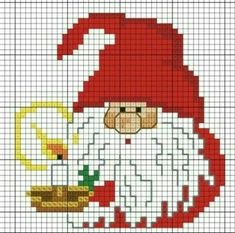 Weihnachtsgnom 4 - x stitch Christmas - Cross Stitch Christmas Cards, Xmas Cross Stitch, Cross Stitch Cards, Christmas Cross, Cross Stitching, Cross Stitch Embroidery, Christmas Christmas, Cross Stitch Designs, Cross Stitch Patterns