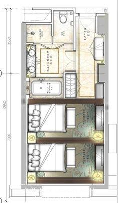一个酒店的标准间30种思路 - 方案讨论 - 室内中国 INTERIOR DESIGN CHINA - Powered by SupeSite Hotel Plans, Hotel Floor Plan, House Floor Plans, Design Hotel, House Design, Plano Hotel, Hotel Concept, Hotel Interiors, Bedroom Layouts
