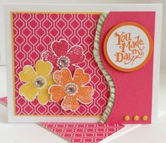 """Fresh Flower Shop-Flower Shop & Best of Greetings stamp sets; Whisper White, Daffodil Delight, Strawberry Slush & Pumpkin Pie CS; Quatrefancy Specialty DSP; Daffodil Delight, Pumpkin Pie & Strawberry Slush inks; Pansy, 1 1/2"""" & 1 5/8"""" Circle punches; Jumbo Jewels Rhinestones; Brights Candy Dots; Pistachio Pudding Stretch Ruffle Ribbon; Occasions piercing template."""