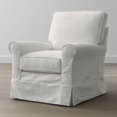 Casually attired for the cottage, the Harborside slipcovered swivel glider is designed for taking life easy.  Deep plump cushions, petite understated rolled arms and a carefree machine-washable slipcover bring a relaxed air to family rooms and sunrooms.