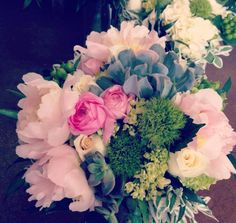 Pink and natural green bridal bouquet The Flower Bucket Austin, Texas