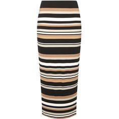 Camel and Black Stripe Tube Skirt (1.325 RUB) ❤ liked on Polyvore featuring skirts, bottoms, white, rayon skirt, striped tube skirt, white skirt, white striped skirt and stripe skirts