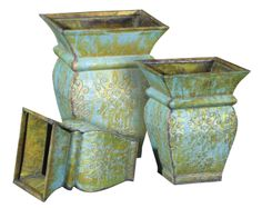 Timeless galvanized containers take on old - world appeal with master craftsman's expert antiquing to bring out the metal's many tones and textures. www.braungroup.com #metal #gardening #planters #flowers #containergardening