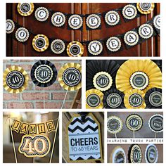 40th Birthday Party Decorations. Boutique 6 piece party decor box. Black / Gold / Chevron. Fully assembled and customizable. by CharmingTouchParties on Etsy