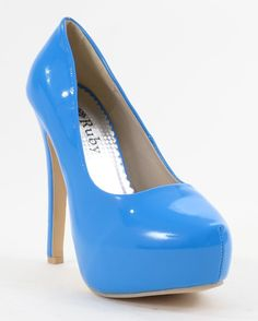 Blue Patent Almond Toe Platform Stiletto Pumps