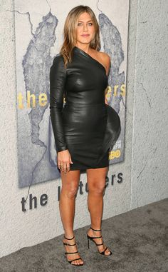 Closet Consistency from Fashion Police Jennifer Aniston sticks to what she knows best at the season three premiere of HBO's The Leftovers in a skintight Brandon Maxwell leather LBD and strappy Gianvito Rossi sandals. Lord knows, a black mini definitely isn't unusual for the actress, but it's nice she threw a one-shoulder variation and a cute ruffle into the mix just for kicks.