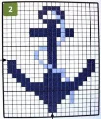 Resultado de imagen para graficos ponto cruz motivos nauticos C2c Crochet, Crochet Squares, Filet Crochet, Tapestry Crochet, Crochet Chart, Loom Beading, Beading Patterns, Loom Patterns, Knitting Charts