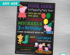 Georges de cerdo invitación DIY cumpleaños por berryniceprintables
