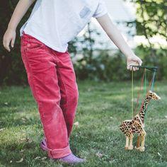 Wooden Giraffe Marionette handmade in USA. From Bella Luna Toys. www.bellalunatoys.com