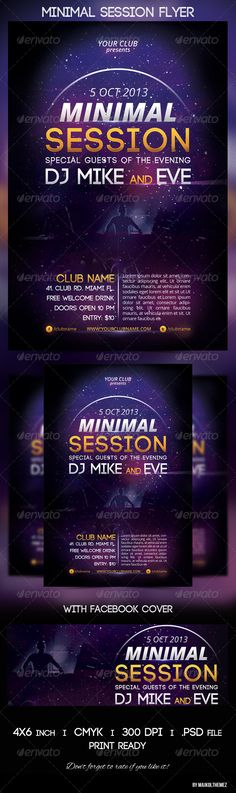 Minimal Session Flyer and FB cover A good way to promote your minimal/electronic/new wave party in a club!