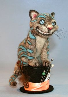 I'll wear it to All the Finest Places Cheshire Cat from Wonderland OOAK Alpaca Needle Felt