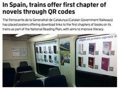 In Spanje kun je in de trein het eerste hoofdstuk van een roman lezen als je de QR code scant.