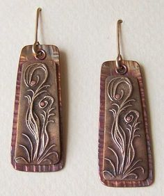 Bronze and Copper Flower Earrings, Riveted. By Off The Grid Designs.com