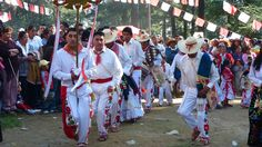 """Dancers from the Otomí village of San Jeronimo Acazulco, Mexico state perform the """"Danza de los Arrieros"""" at the feast of the Apparition of """"El Divino Rostro"""""""