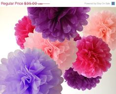 ON+SALE+10+x+Tissue+Paper+Poms++Choice+of+26+by+kismetologie,+$28.00