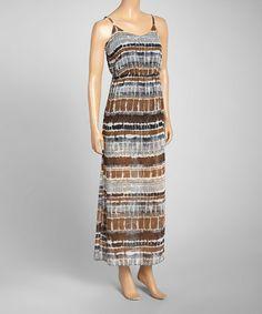 Love this Gray & Green Stripe Chiffon Maxi Dress on #zulily! #zulilyfinds