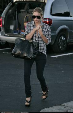 Ashley Olsen wearing Ksubi Super Skinny Hacienda Zip Jeans In Jet Black, Fendi Twins Tote in Black Crocodile, Balenciaga Platform Sandals,  ...