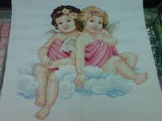 """Cross Stitch title: 2 Cherubs 10 cts; white Aida cloth sequins and beads added 25"""" x 24""""  #CrossStitch #Craft #forsale"""