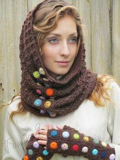 """Chocolate drops"" (crochet set - crochet cowl & mitts - crochet drops - fingerless gloves - crochet lace mittens - crochet tube cowl) Baby Mermaid Crochet, Crochet Baby Toys, Crochet Mittens, Crochet Gloves, Crochet Poncho, Crochet Scarves, Crochet Lace, Crochet Jacket Pattern, Crochet Jewelry Patterns"
