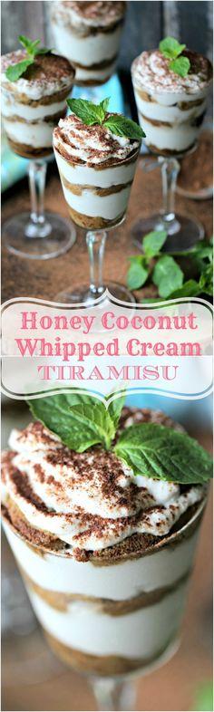 Coconut Cream Tiramisu Glasses - No Refined Sugar Added - Peas and Peonies