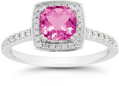 Just Added - Cushion-Cut Pink Topaz Halo Ring, 14K White Gold, $995
