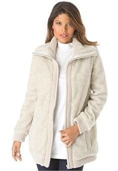 e489e664a92 Roaman s classic plus size Bomber Jacket is classy and cozy! Plus Size  Outerwear