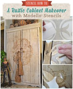 Stencil How To: A Rustic Cabinet Makeover with Modello® Stencils | Royal Design Studio