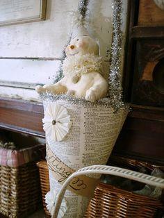 Snowman in paper cone