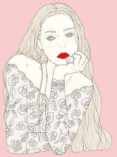 ※ 画像の無断転用を禁止しています。 Please do not use any images on your site without permission. Simple Illustration, Illustration Girl, Pencil Illustration, Girls In Love, Drawing Reference, Illustrators, Pop Art, Art Drawings, Beauty Illustrations