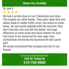 We had a service done on our 3 bedrooms and stairs. The carpets are white berber. They...