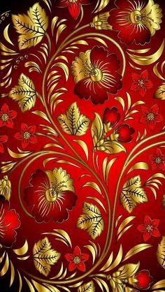 Flores vermelhas com dourado