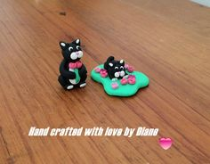 Pair Hand crafted Polymer Clay Miniature Spring Time Cats with Flowers