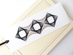 Hand embroidered bookmark black taupe string art squares pattern-home accessory-paper goods-stationery craft-reading-gift-graphic design Cadeau Design, Stationery Craft, Paper Embroidery, Design Graphique, Artisanal, String Art, Paper Goods, Flower Designs, Bookmarks