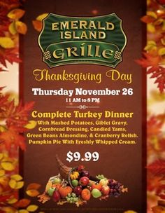 Emerald Island Grille - Thanksgiving Day Menu #EmeraldIslandCasino #ThanksgivingDay #TurkeyDay