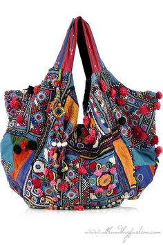 f77ef68723d Simone Camille Carryall blue embroidered cotton shoulder bag This Simone  Camille shoulder bag has two top handles, push-stud fastenings to expand,  pompom