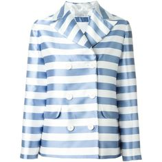 Vivetta Striped Blazer (1,375 ILS) ❤ liked on Polyvore featuring outerwear, jackets, blazers, blue, blue jackets, blue blazer, stripe blazer, blazer jacket and blue striped blazer