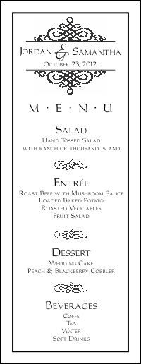 Wedding Menu Templates For Free Food Reception Program