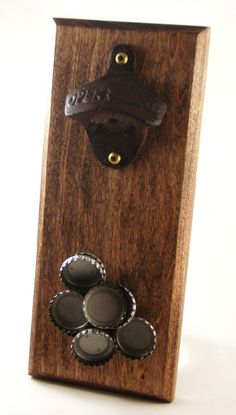 Wall mount bottle opener with magnetic cap catcher groomsmen gift birthday gift - pinned by pin4etsy.com