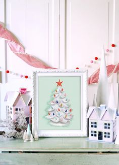 Lily & Val – Grandma's Tree in White - Print - Holiday - Christmas Decor - Winter