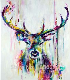 Professional Top Painter Team Supply High Quality Abstract Colorful Deer Oil Painting On Canvas Handmade Beautiful Deer Picture-in Painting & Calligraphy from Home & Garden on Aliexpress.com   Alibaba Group