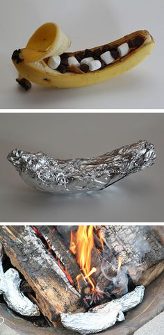 Campfire or On-the-Grill Bananas Tutorial  This is great for camping or for a Fourth of July BBQ/Picnic… and I'de top this off with frozen yogurt or ice cream and…. oh yeah…you can make a s'mores version of this, or use peanut butter, Nutella, or other fun toppings! BE CREATIVE!  http://thecakebar.tumblr.com/post/52243781567/campfire-or-on-the-grill-bananas-tutorial-this-is