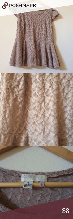 Forever 21+ Peplum Top Nice taupe sheer peplum in good used condition, no flaws. From smoke free, pet friendly home. Forever 21 Tops