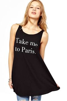 """Take me to Paris"" Wish Tank Top! ;) I am WISHING! I want to go right now!  Maybe if I get this shirt, wear it, and click my heels three times! Black and White"