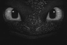 Toothless by Marilyn | These White Pencil Sketches On Black Paper Are So Damn Good That They'll Steal Your Heart Away!