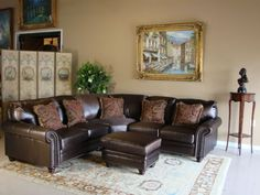 Living Room Interior Design With Brown Leather Sofa