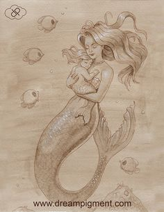 Mother Mermaid by DreamPigment on DeviantArt Mermaid tattoo – Fashion Tattoos Baby Mermaid Tattoo, Mermaid Tattoos, Mermaid Art, Art Sketches, Art Drawings, Tattoo Painting, Mermaid Drawings, Drawings Of Mermaids, Mother Art
