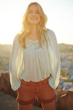 $39 (118) Lace Scroll Peasant Top #anthropologie